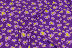 Viscose-jersey in purple with ca. 3 cm pattern in light-purple and lime
