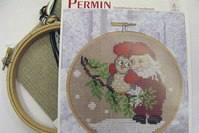 Embroidery owl and Santa.  13-6242.