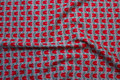 Tulip-patterned grey poplin with 2,5 cm red flowers