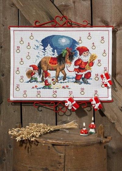 Christmas calendar with elf and horse
