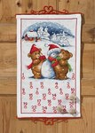 Permin 34-5224. Christmas calendar with teddies and snowman.