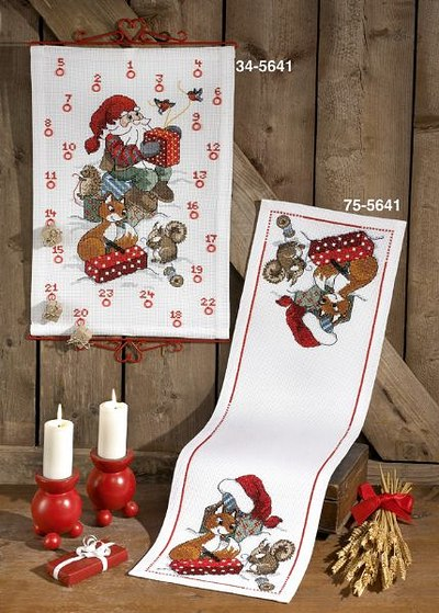Christmas calendar with fox, squirrel and santa claus