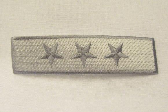 3-star iron-on-patch grey, 12 x 3 cm