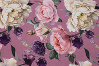 Old rose cotton-jersey with big roses in purple, soft red and white