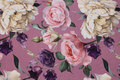 Old rose cotton-jersey with big roses in purple, soft red and white. 18,62
