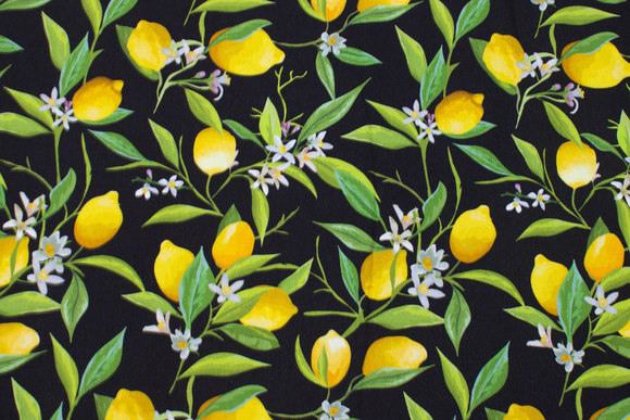 Black cotton-jersey with lemons