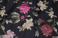 Beautiful black jacquard-woven brocade with flowers
