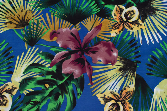 Lightweight, blue micro-polyester with orchids