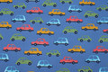 Dove-blue, firm cotton with cars