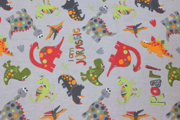 Light grey firm cotton with dinosaurs
