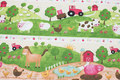 Across-patterned cotton with cute farm animals