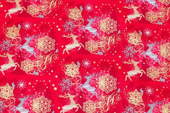 Christmas-cotton with reindeer and gold print