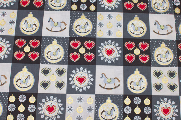Grey cotton with 6 cm christmas images