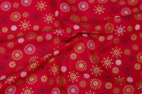 Red christmas-cotton with snefnug in gold and white