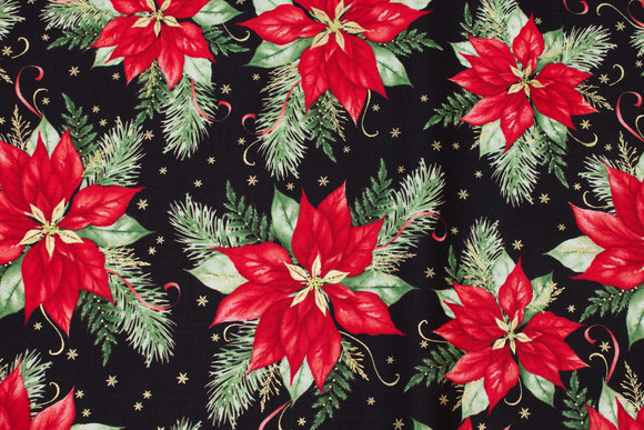 Black patchwork-cotton with julestjerner in red, green and gold