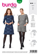Dress, Loose, round neckline, three-quarter-sleeves. Burda 6149.