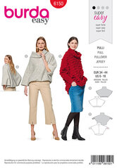 Pullover, Cape form- Integral collar. Burda 6150.