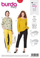 Sweater with raglan sleeves, Piping or button decoration. Burda 6151.