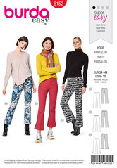 Flared trouserspants with a waistband and side zipper. Burda 6152.