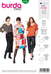 Blouse and dress, V-neck. Burda 6155.