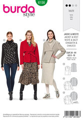 Jacket, Vest, Asymmetric collar. Burda 6156.