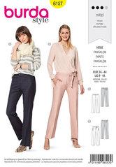 Trouserspants with a shaped waistband, Straight leg. Burda 6157.