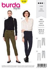 Trouserspants with a shaped waistband- Tapered leg. Burda 6158.