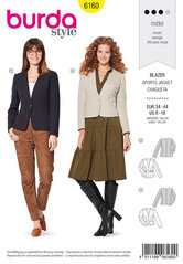 Jacket, Blazer, V-neck. Burda 6160.