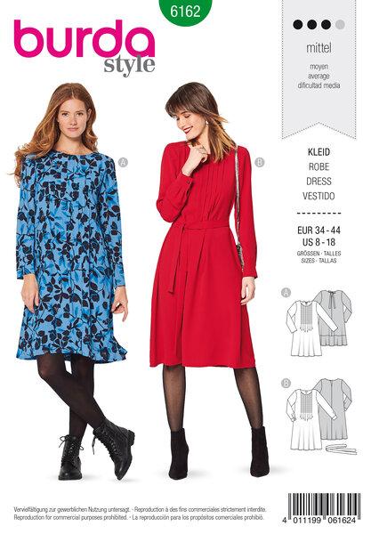 Dress, Stitched front pleats