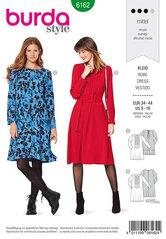 Dress, Stitched front pleats. Burda 6162.