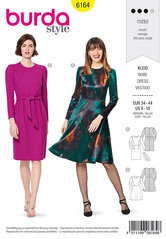 Dress, Narrow skirt with a vent or flared skirt. Burda 6164.