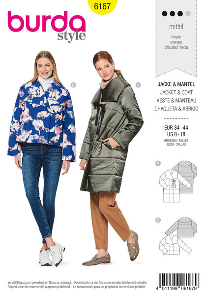 Quilted coat  jacket, Generous collar, Egg-shape