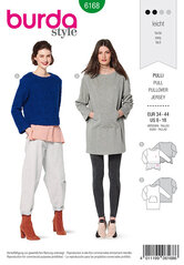 Pullover , Two-in-one look, Long top with kangaroo pocket. Burda 6168.