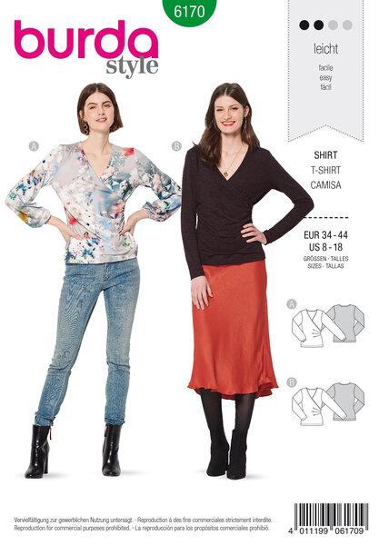 Mock wrap top, One-sided pleats
