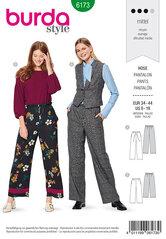 Pants with drawstring or elastic casing. Burda 6173.