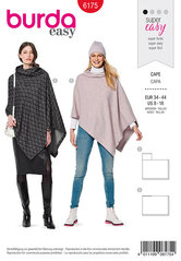 Cape, Rectangular, with roll neck. Burda 6175.