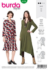 Dress with waist band and bell-shaped skirt, V-neck. Burda 6176.