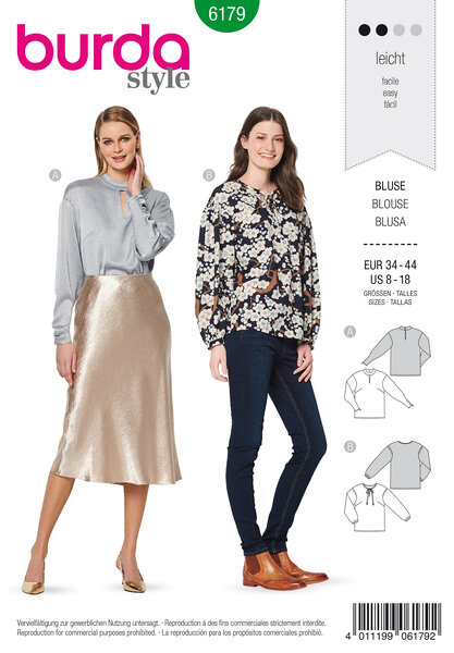 Blouse, no fastening, with stand collar or binding at neckline