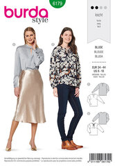 Blouse, no fastening, with stand collar or binding at neckline. Burda 6179.
