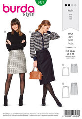 Skirt, Slightly flared, Side panel seams. Burda 6181.