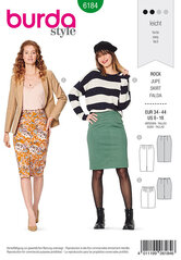 Pencil skirt, Decorative darts. Burda 6184.