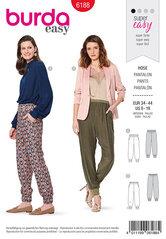Trouserspants with stretch waistband, Leg bands. Burda 6188.