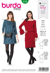 Dress, Scooped neckline. Burda 6189.