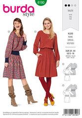 Dress, Wide waistband, shirred waistband, Raglan sleeves. Burda 6190.