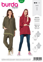 Sweater with hood, Hoodie, Casual fit. Burda 6191.