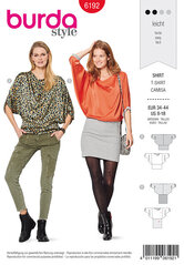 Top, Wide hip band,  Kimono sleeves. Burda 6192.