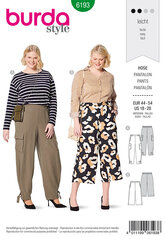 Pants, Waistband with elastic casing , Forward side seam, Wide legs. Burda 6193.