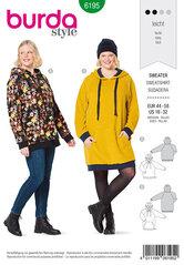 Sweater with hood, Hoodie, Raglan sleeves. Burda 6195.