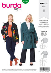 Jacket, Coat, No fastening. Burda 6196.