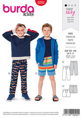 Trouserspants, Shorts, Stretch waistband. Burda 9292.